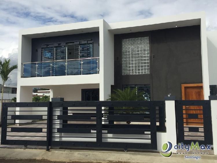 Casa minimalista en venta en Llanos de Gurabo, Santiago